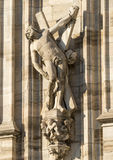 Duomo of Milan, statues. Milan (Lombardy, Italy) - Statues on the left side of the Duomo royalty free stock images