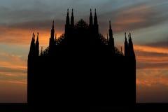 Duomo Milan at sunset. Silhouette of Duomo Milan at sunset illustration Royalty Free Stock Image