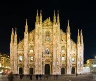 Duomo Milano en la noche Imagen de archivo libre de regalías