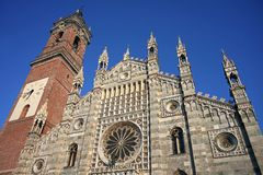 Duomo of Monza, Italy. The facade of The Dom in Monza, Milano, Italy Royalty Free Stock Photo