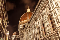 Duomo. Night view of the great Duomo of Firenze. Italy stock photo