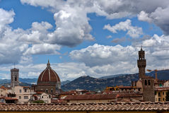 Duomo Palazzo Vecchio Florence Firenze Tuscany Italy. View at the Duomo or Basilica di Santa Maria del Fiore, and tower of the Palazzo Vecchio in Florence stock image