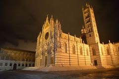 Siena, Tuscany, Italy. Duomo cathedral by night Royalty Free Stock Photos