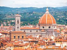 Duomo Santa Maria Del Fiore, Bargello w i, Tuscany, Włochy Widok z lotu ptaka katedra Zdjęcia Stock