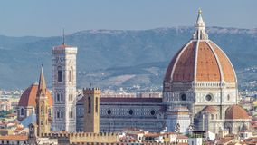 Duomo Santa Maria Del Fiore timelapse and Bargello in the morning from Piazzale Michelangelo in Florence, Tuscany, Italy. Duomo Santa Maria Del Fiore timelapse stock video footage