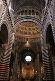 Duomo-siena. Interior of the siena duomo,showing portion of ceiling and pillars stock photo