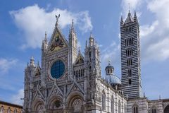 Duomo in Siena, Italy. Siena Cathedral, Cattedrale di Santa Maria Assunta, in white and black marble, Old Town, Siena, Tuscany, Italy, Europe Stock Image
