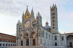 Duomo in Siena, Italy. Siena Cathedral, Cattedrale di Santa Maria Assunta, in white and black marble, Old Town, Siena, Tuscany, Italy, Europe Stock Images