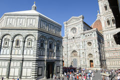 Duomo square with the cathedral of Florence on Italy. Stock Image