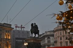 Duomo square decorated with twinkling balls on the Christmas Tree in early New Year morning. royalty free stock photos