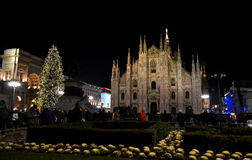 Duomo square of Milan during New Year 2014 concert at midnight. Stock Photography