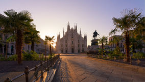 Duomo square and palms tree Royalty Free Stock Images