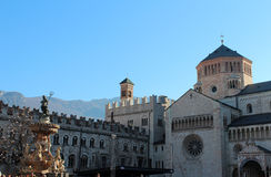 Duomo Square in Trento, Italy. Duomo Square (Cathedral of Saint Vigilius) and Fountain of Neptune in the Christmas time, Trento, Italy. Popular touristic stock photography