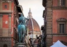 Duomo and Statue of Ferdinando Royalty Free Stock Photography