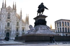 Dawn at church of Duomo, town square in Milan morning after the rain royalty free stock photography