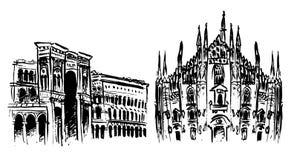 Duomo and Vittorio Emanuele II Gallery royalty free illustration
