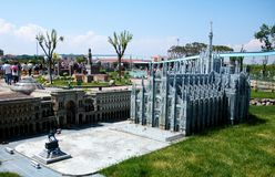 Duomo von Mailand im Freizeitpark 'Italien in der Miniatur 'Italien im miniatura Viserba, Rimini, Italien lizenzfreies stockbild