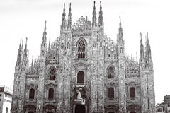 Duomo von Mailand Schwarzweiss Lizenzfreies Stockfoto