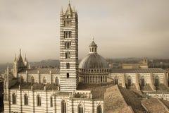 Duomodi Siena en klokketoren Mening van facciatone Toscanië Italië Oud polair effect royalty-vrije stock fotografie