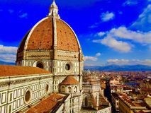 Duomosikt i Florence, Italien royaltyfri fotografi