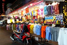 T-shirt on sale in the Duong Dong night market. Duong Dong, Phu Quoc island, Vietnam - March 19,2019: Beachwear and t-shirts with the symbols of the island for stock photos
