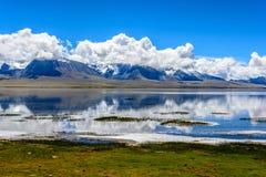 Duoqing lake and mountain Chomolhari royalty free stock photography