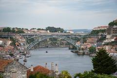 Duoro flod och Maria Pia Bridge Royaltyfri Fotografi