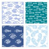 Vector set of seamless fish and jellyfish patterns. Duotone doodles illustrations. Boundless background can be used for web page background, wrapping paper and Stock Photos