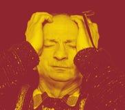 Duotone-Porträt des älteren Mannes stockfoto