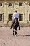 dupez l'équitation aux hommes à l'étalon de baie qui saute un trot sur la place de sable devant le palais Images stock