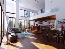 Duplex. Luxury duplex penthouse apartment with living room and kitchen Stock Images