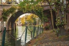 Duplex channels Utrecht. The Oudegracht, or old canal, runs through the center of Utrecht, the Netherlands Stock Photos
