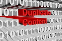 Duplicate content. In the form of binary code, 3D illustration Stock Photo