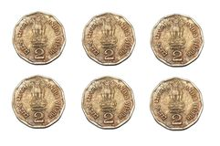 A duplicate of six india two rupee coins Stock Image