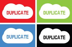 DUPLICATE text, on cloud bubble sign. Stock Photography