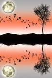 Duplique la silueta de la luz y del árbol de luna en fondo Ilustración del Vector