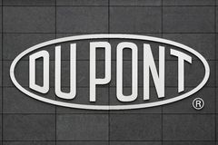 Dupont logo on a wall. Aarhus, Denmark - May 1, 2015:Logo of the brand Du Pont. DuPont is one of America`s most innovative companies and it is an American Royalty Free Stock Photography
