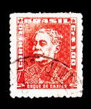 Duque de Caxias, Portraits - Famous People in Brazil History ser. MOSCOW, RUSSIA - MAY 15, 2018: A stamp printed in Brazil shows Duque de Caxias, Portraits Stock Photo