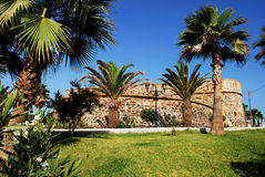 Duquesa castle, Spain. View of the castle with palm trees in the foreground, Duquesa, Malaga Province, Andalucia, Spain, Western Europe stock images
