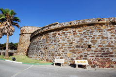 Duquesa castle, Spain. View of the castle with stone benches in the foreground, Duquesa, Malaga Province, Andalucia, Spain, Western Europe royalty free stock images
