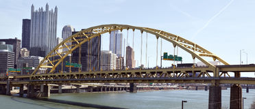 Duquesne Bridge and Pittsburgh skyline. stock images