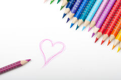 Durée des crayons de couleur Photo stock