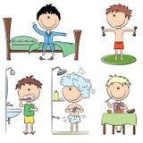 Durée quotidienne de garçons de matin Photo stock