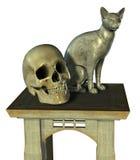 Durée toujours avec la statue et le crâne de chat - comprend le chemin de découpage Photographie stock libre de droits