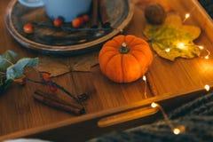 Durée toujours avec le potiron Composition d'automne images stock