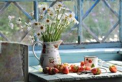 Durée toujours avec les camomiles et la fraise Photo stock