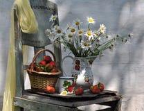 Durée toujours avec les camomiles et le panier de la fraise Images stock