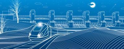 Durée urbaine Le train va le long de la banque de lac Centrale hydraulique au fond Barrage de rivière, station d'énergie, énergie illustration stock
