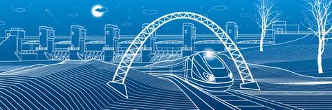 Durée urbaine Le train va le long de la banque de lac Centrale hydraulique au fond Barrage de rivière, station d'énergie, énergie illustration de vecteur