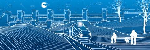Durée urbaine Les gens à la gare Le train va le long de la banque de lac Centrale hydraulique au fond Barrage de rivière, station illustration de vecteur